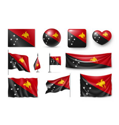 Set papua new guinea realistic flags banners vector