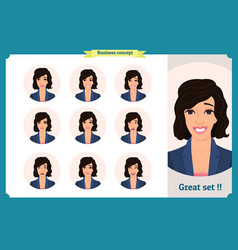 set woman expression isolated on white flat vector image