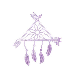 Silhouette beauty dream catcher with feathers and vector