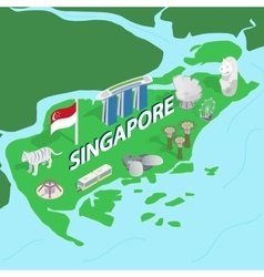 Singapore map isometric 3d style vector image