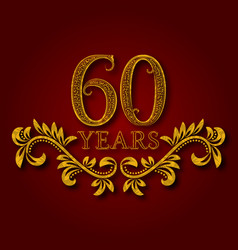 Sixty years anniversary celebration patterned vector