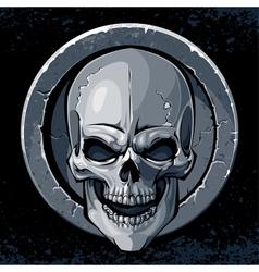 Skull in stone vector image