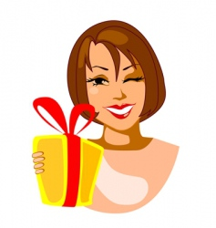Smiling woman with gift vector