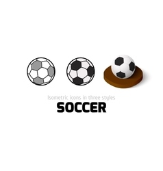 Soccer icon in different style vector image vector image