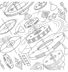 Spare parts pattern gears wheels background vector