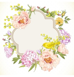 Spring Vintage Floral Bouquet with Birds vector