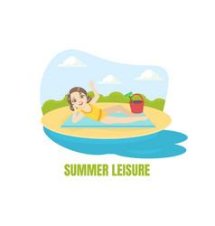 summer leisure banner template cute girl vector image