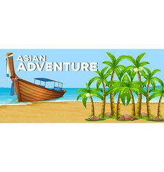 Summer theme with asian adventure vector image