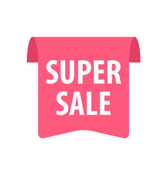 super sale label isolated on white red color vector image