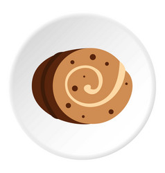 Sweet creamy roll icon circle vector