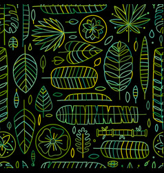 Tropical leaves background seamless pattern vector