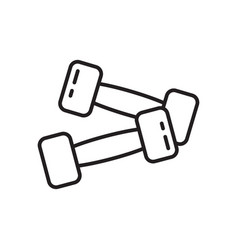 Two dumbbells icon thin line art template for vector