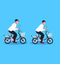 two men cycling bicycle holding magnifying glass vector image