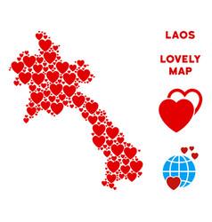valentine laos map mosaic of hearts vector image