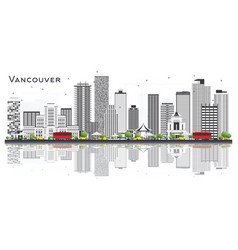 vancouver canada city skyline with gray buildings vector image