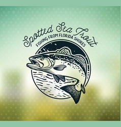 vintage sea trout fishing emblems labels and vector image