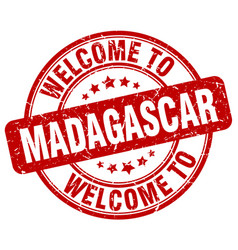Welcome to madagascar red round vintage stamp vector