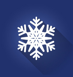 white flat six-pointed snowflake with shadow on vector image