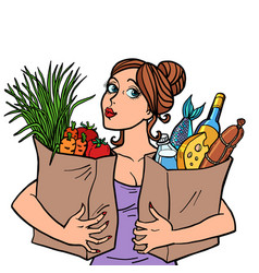 Woman and food bags vector