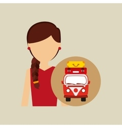 Woman red dress vintage van camper suitcases vector