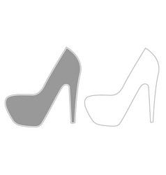Woman shoes grey set icon vector