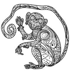 Zentangle Hand drawn doodle ornate Monkey vector