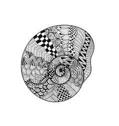 Zentangle stylized black seashell Hand Drawn vector image