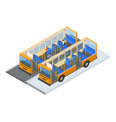 autobus and elements part isometric view vector image