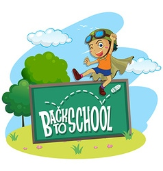 Back to school theme with boy jumping vector image vector image