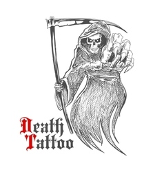 Dreadful grim reaper with scythe vector image