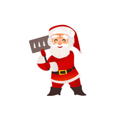 funny santa claus in glasses with christmas sign vector image vector image