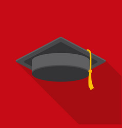 graduation cap icon in flat style isolated on vector image vector image