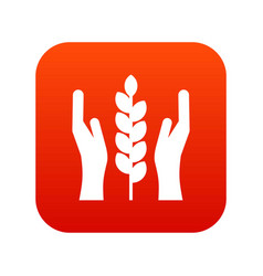 hands and ear of wheat icon digital red vector image vector image