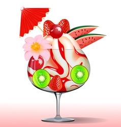 ice cream with strawberry kiwi cherry tree and flo vector image vector image