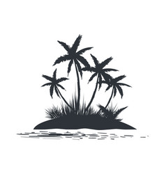 island with palm trees silhouette vector image vector image