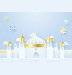 paper craft mosque and islamic decoration ramadan vector image
