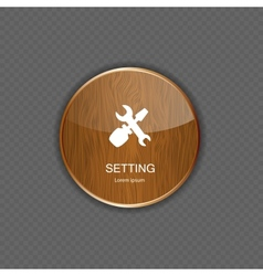 Setting wood application icons vector image vector image