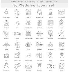 wedding ultra modern outline line icons for vector image vector image