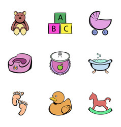 baby things icons set cartoon style vector image vector image