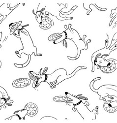 cute activuty dogs seamless pattern doodle vector image vector image