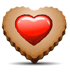 Heart shaped cookie on white background vector image