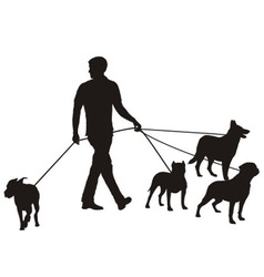Man and four dogs vector image vector image