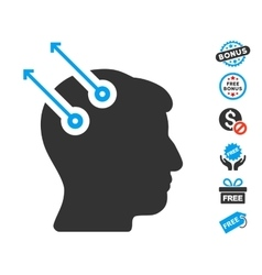 Neural Interface Plugs Icon With Free Bonus vector image vector image