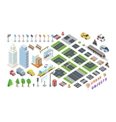 Set of City 3d Elements for Map vector image vector image
