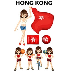 HongKong flag and many sports vector image vector image