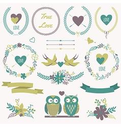 romantic set with bouquets birds hearts arrows vector image vector image