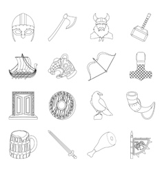 Vikings set icons in outline style Big collection vector image vector image
