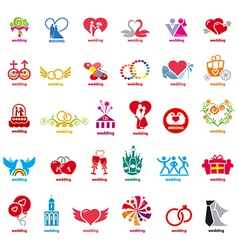 Biggest collection of logos wedding vector