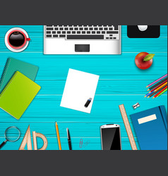 business office and workplace top view background vector image vector image