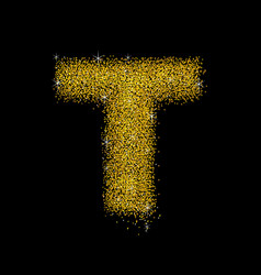 gold dust font type letter t vector image
